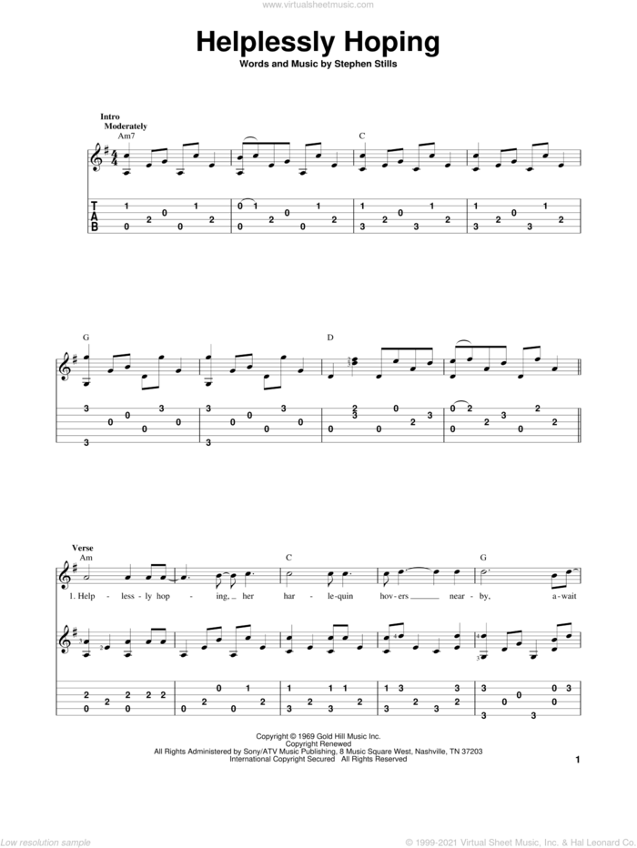 Helplessly Hoping sheet music for guitar solo by Crosby, Stills and Nash, Crosby, Stills & Nash and Stephen Stills, intermediate skill level