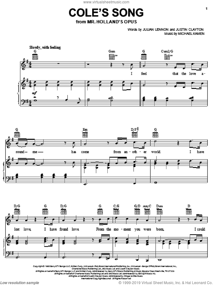 Cole's Song sheet music for voice, piano or guitar by Julian Lennon, Justin Clayton and Michael Kamen, intermediate skill level