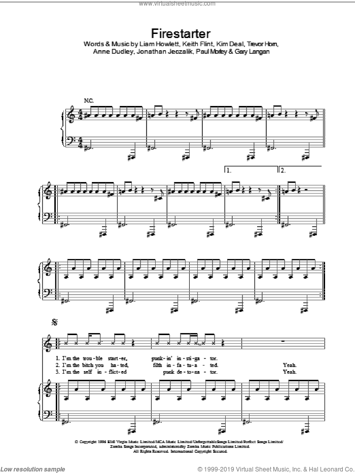 Firestarter sheet music for voice, piano or guitar by The Prodigy, Gene Simmons, Jimmy Eat World, Keith Flint, Kim Deal and Liam Howlett, intermediate skill level