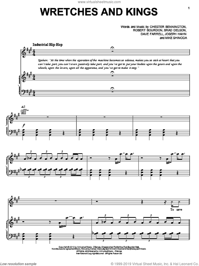 Wretches And Kings sheet music for voice, piano or guitar by Linkin Park, Brad Delson, Chester Bennington, Dave Farrell, Joseph Hahn, Mike Shinoda and Rob Bourdon, intermediate skill level
