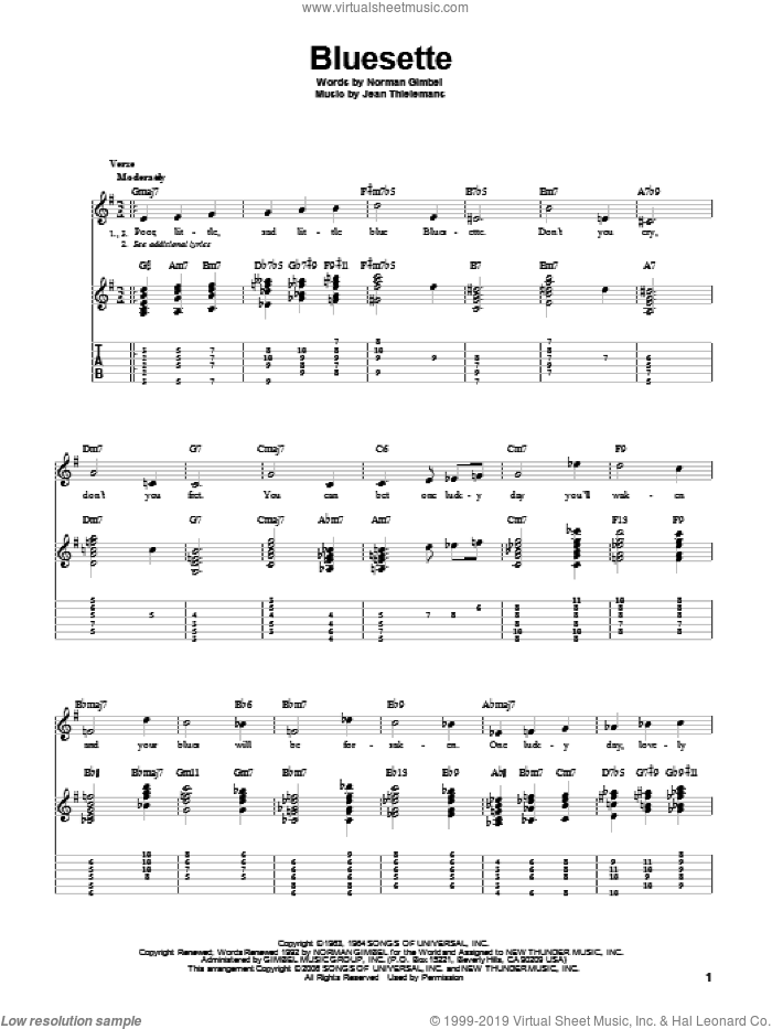 Bluesette sheet music for guitar solo by Norman Gimbel, Sarah Vaughn, Toots Thielmans and Jean Thielemans, intermediate skill level