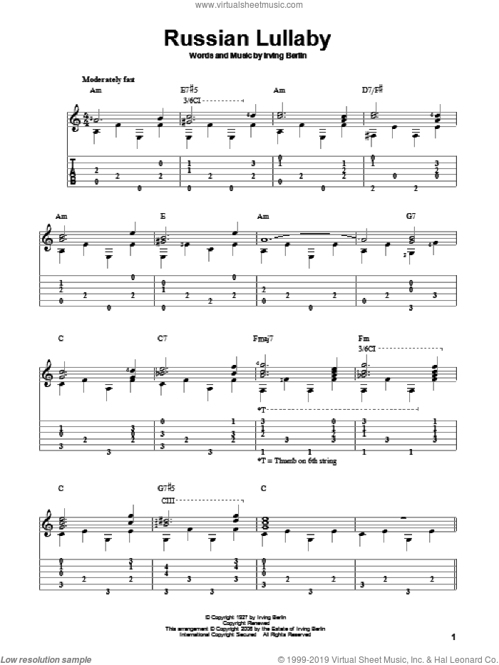 Russian Lullaby sheet music for guitar solo by Irving Berlin, intermediate skill level