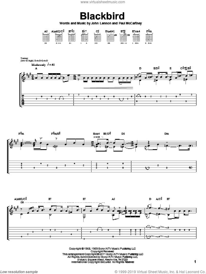 Blackbird sheet music for guitar solo by The Beatles, Laurence Juber, John Lennon and Paul McCartney, intermediate skill level