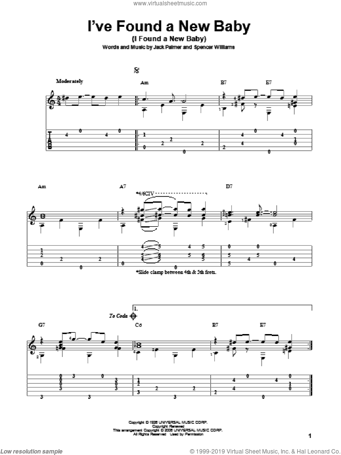 I've Found A New Baby (I Found A New Baby) sheet music for guitar solo by Benny Goodman, Jack Palmer and Spencer Williams, intermediate skill level