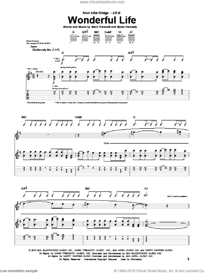 Wonderful Life sheet music for guitar (tablature) by Alter Bridge, Mark Tremonti and Myles Kennedy, intermediate skill level