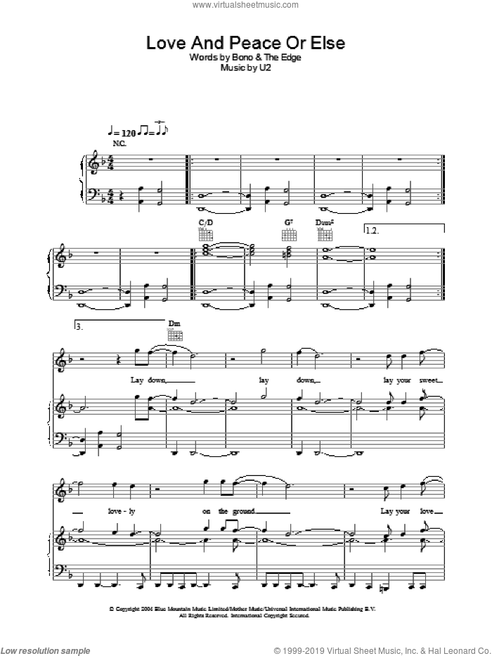 Love And Peace Or Else sheet music for voice, piano or guitar by U2, Bono and The Edge, intermediate skill level