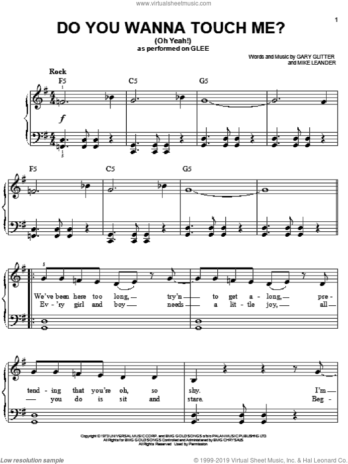 Do You Wanna Touch Me?  (Oh Yeah!) sheet music for piano solo by Glee Cast, Gwyneth Paltrow, Joan Jett, Miscellaneous, Gary Glitter and Mike Leander, easy skill level