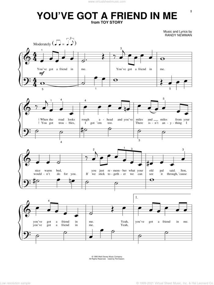 You've Got A Friend In Me (from Toy Story) sheet music for piano solo (big note book) by Randy Newman and Toy Story (Movie), easy piano (big note book)
