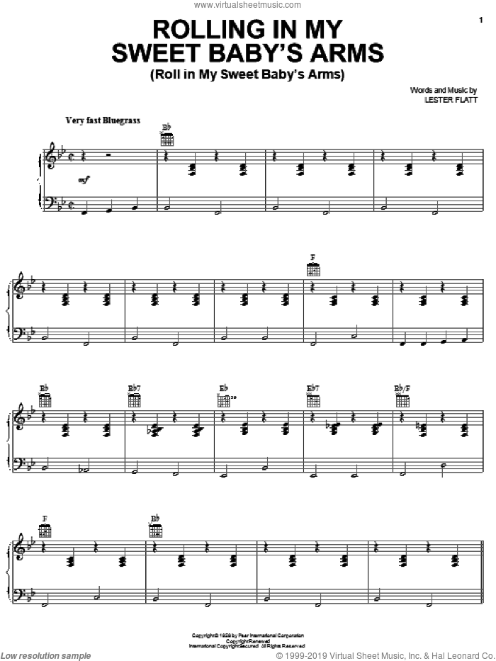 Rollin' In My Sweet Baby's Arms sheet music for voice, piano or guitar by Lester Flatt, intermediate skill level