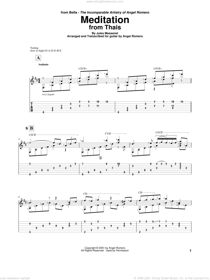 Meditation sheet music for guitar solo by Angel Romero and Jules Massenet, classical score, intermediate skill level