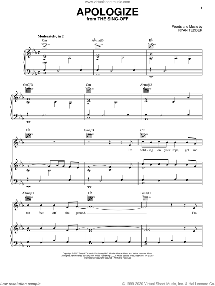 Apologize sheet music for voice, piano or guitar by Timbaland featuring OneRepublic and Ryan Tedder, intermediate skill level
