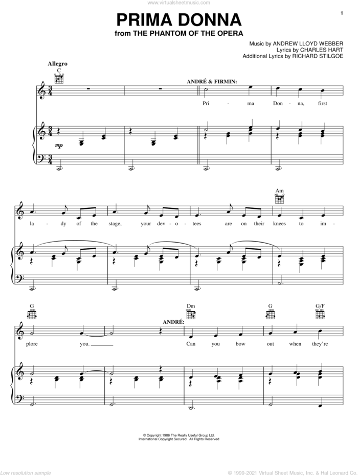 Prima Donna (from The Phantom Of The Opera) sheet music for voice, piano or guitar by Andrew Lloyd Webber, The Phantom Of The Opera (Musical), Charles Hart and Richard Stilgoe, intermediate skill level