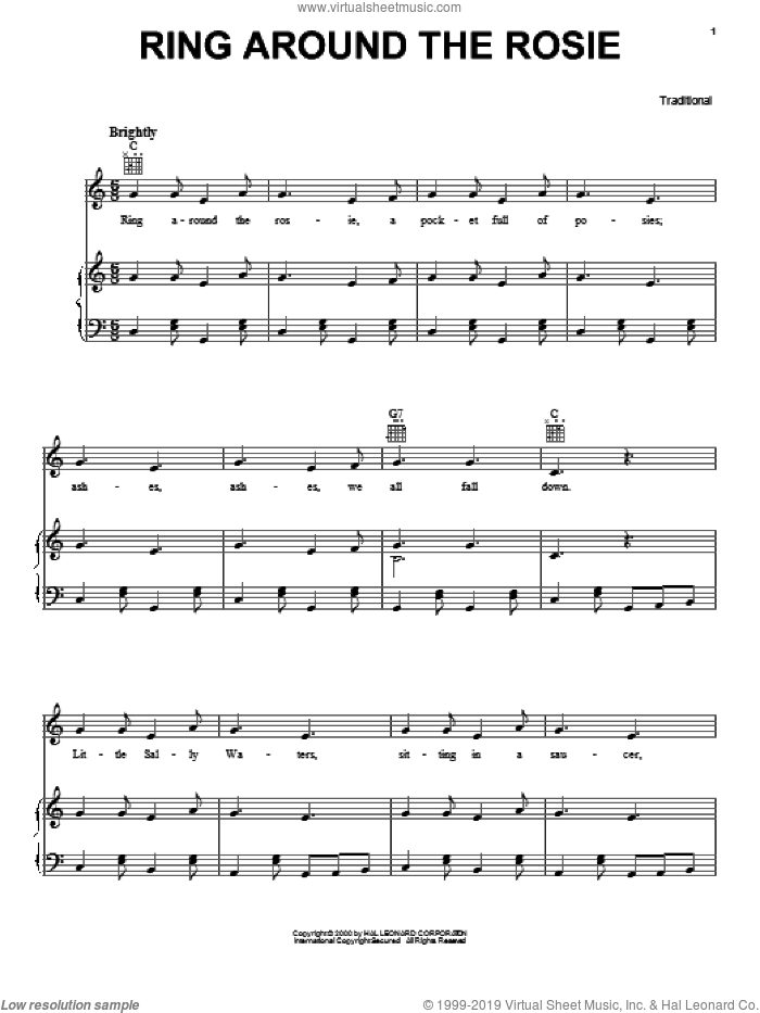 Ring Around The Rosie sheet music for voice, piano or guitar, intermediate skill level