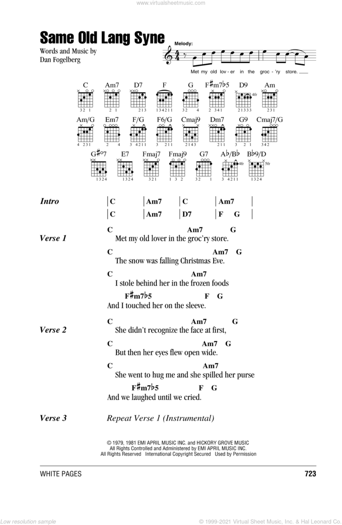 Same Old Lang Syne sheet music for guitar (chords) by Dan Fogelberg, intermediate skill level