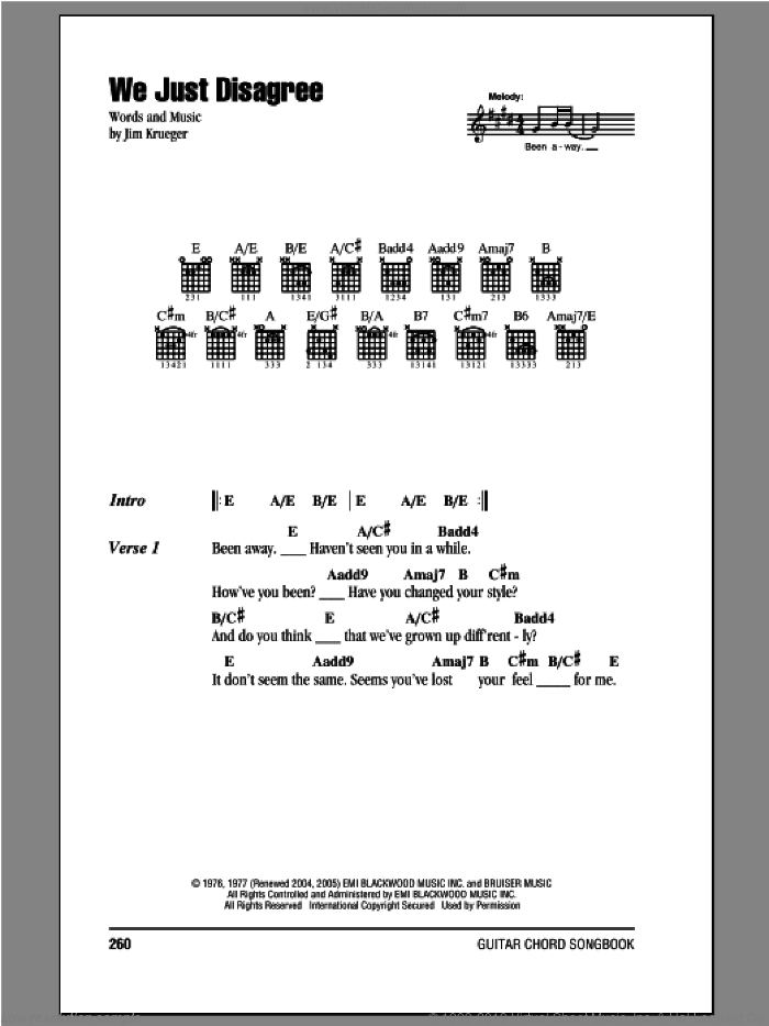 We Just Disagree sheet music for guitar (chords) by Dave Mason, Billy Dean and Jim Krueger, intermediate skill level