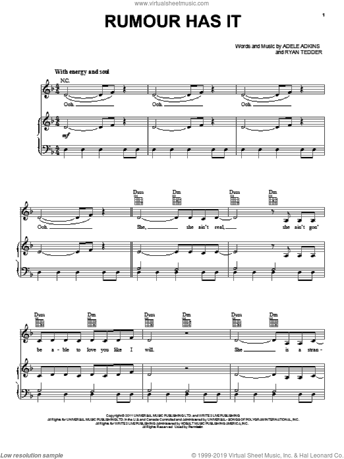 Rumour Has It sheet music for voice, piano or guitar by Adele, Adele Adkins and Ryan Tedder, intermediate skill level