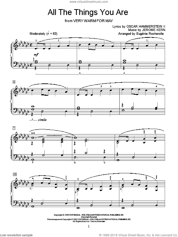 All The Things You Are sheet music for piano solo (elementary) by Jerome Kern, Eugenie Rocherolle, Miscellaneous and Oscar II Hammerstein, wedding score, beginner piano (elementary)