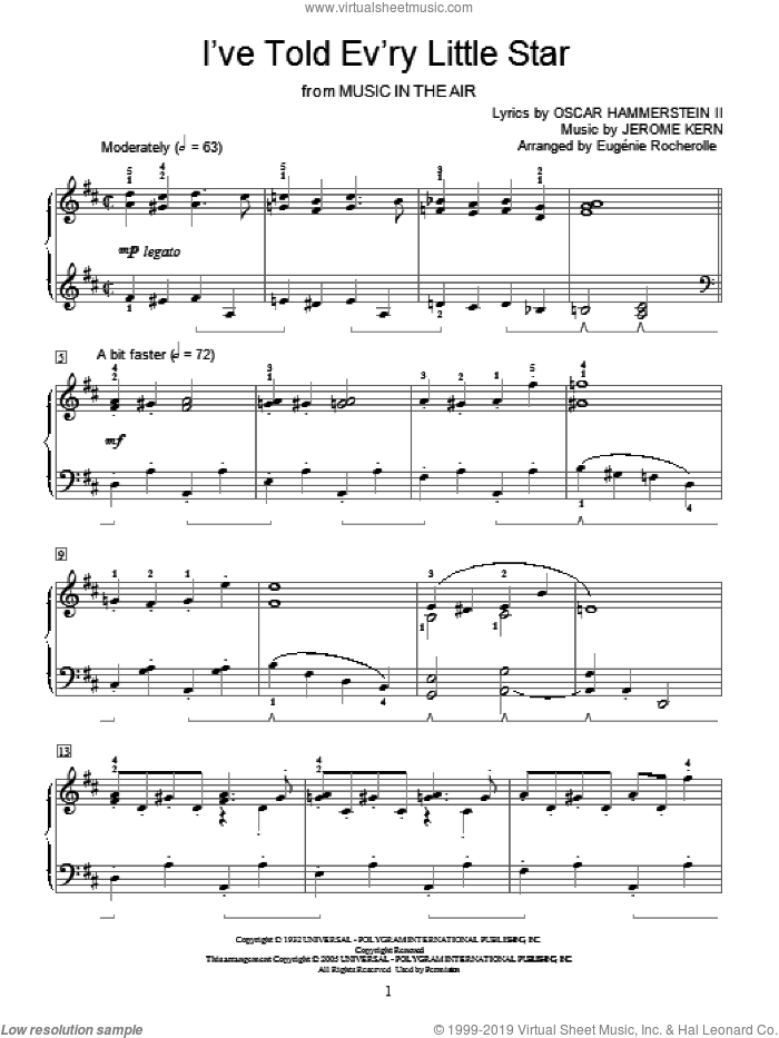 I've Told Ev'ry Little Star sheet music for piano solo (elementary) by Jerome Kern, Linda Scott, Miscellaneous and Oscar II Hammerstein, beginner piano (elementary)
