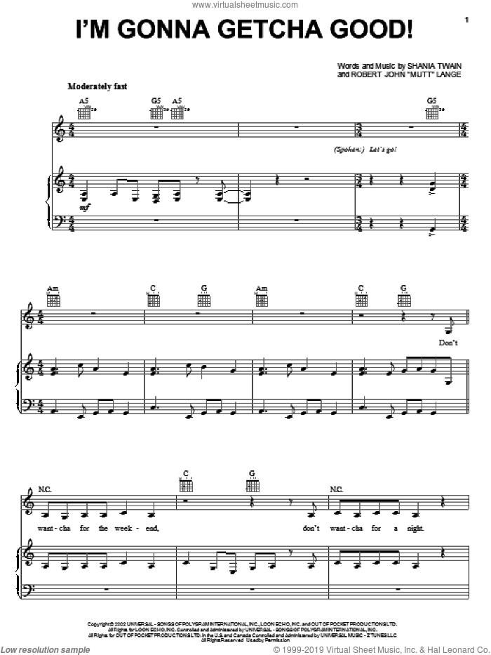 I'm Gonna Getcha Good! sheet music for voice, piano or guitar by Shania Twain, Jonas Brothers and Robert John Lange, intermediate skill level