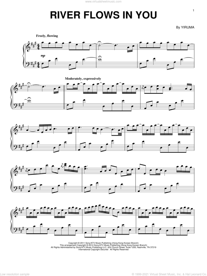 River Flows In You, (intermediate) sheet music for piano solo by Yiruma, intermediate skill level