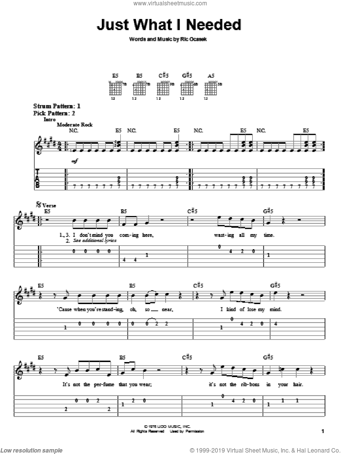 Just What I Needed sheet music for guitar solo (easy tablature) by The Cars and Ric Ocasek, easy guitar (easy tablature)