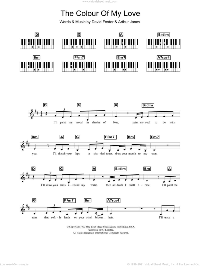 The Colour Of My Love sheet music for piano solo (chords, lyrics, melody) by Celine Dion, Arthur Janov and David Foster, intermediate piano (chords, lyrics, melody)