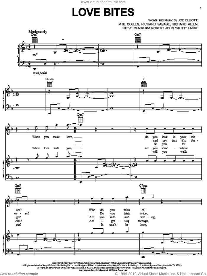 Love Bites sheet music for voice, piano or guitar by Def Leppard, Joe Elliott, Phil Collen, Rick Savage, Robert John Lange and Steve Clark, intermediate skill level
