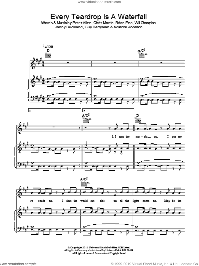 Every Teardrop Is A Waterfall sheet music for voice, piano or guitar by Coldplay, Adrienne Anderson, Brian Eno, Chris Martin, Guy Berryman, Jonny Buckland, Peter Allen and Will Champion, intermediate skill level