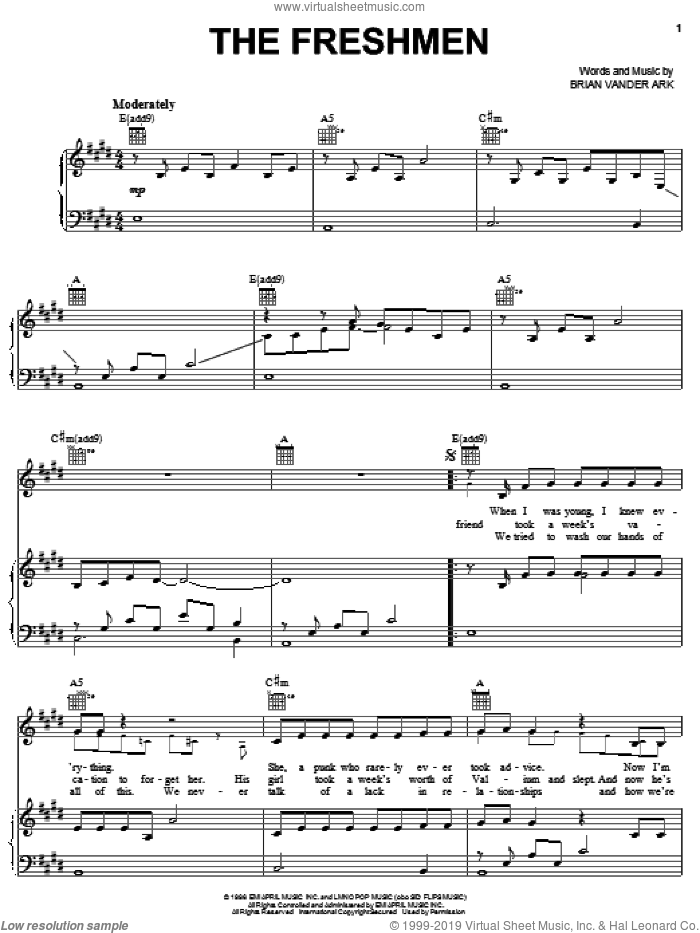 The Freshmen sheet music for voice, piano or guitar by The Verve Pipe and Brian Vander Ark, intermediate skill level