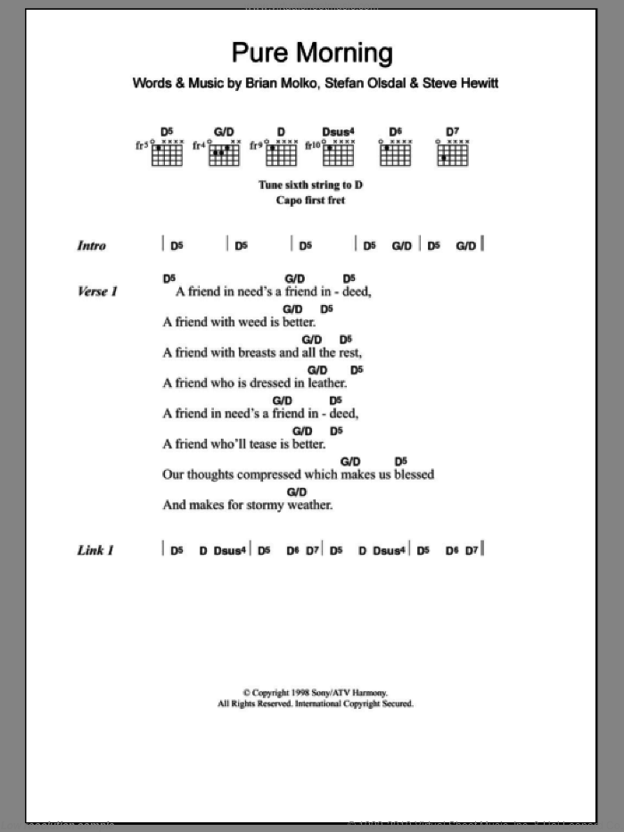 Pure Morning sheet music for guitar (chords) by Placebo, Brian Molko, Stefan Olsdal and Steve Hewitt, intermediate skill level