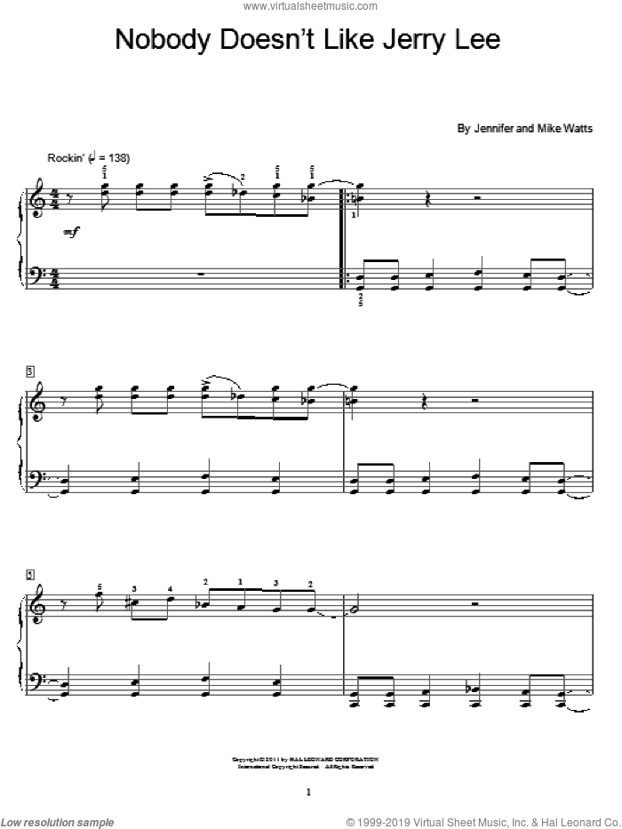 Nobody Doesn't Like Jerry Lee sheet music for piano solo (elementary) by Jennifer Watts and Mike Watts, beginner piano (elementary)
