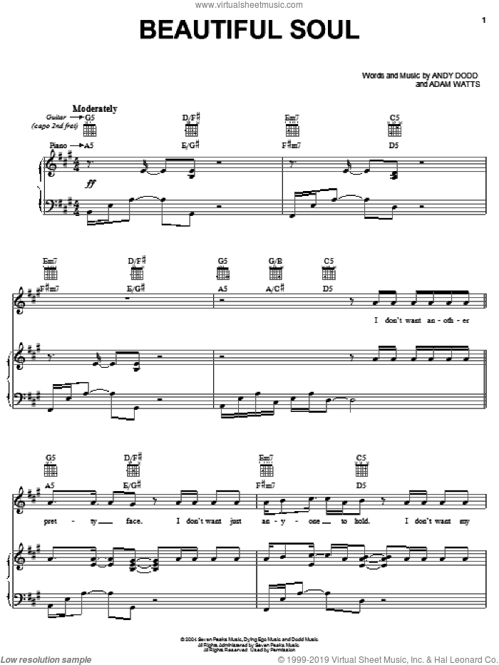 Beautiful Soul sheet music for voice, piano or guitar by Jesse McCartney, Adam Watts and Andy Dodd, intermediate skill level