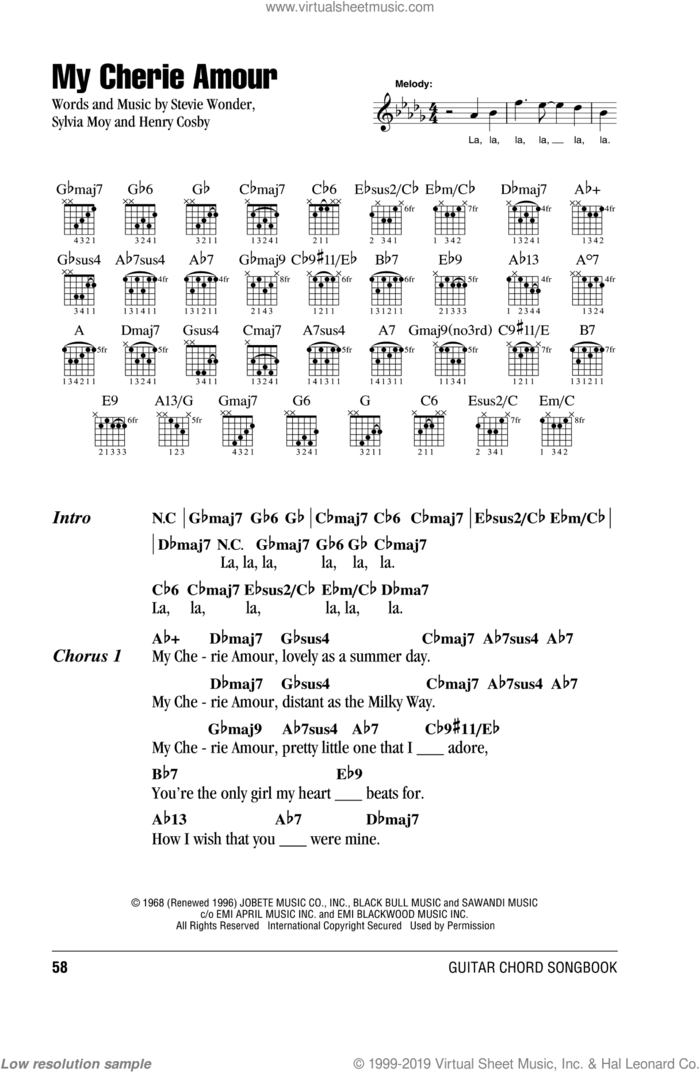 My Cherie Amour sheet music for guitar (chords) by Stevie Wonder, Henry Cosby and Sylvia Moy, intermediate skill level