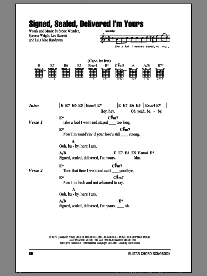 Signed, Sealed, Delivered I'm Yours sheet music for guitar (chords) by Stevie Wonder, Lee Garrett, Lula Mae Hardaway and Syreeta Wright, intermediate skill level