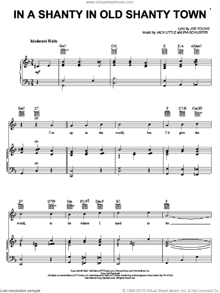 In A Shanty In Old Shanty Town sheet music for voice, piano or guitar by Doris Day, Mickey Gilley, Ira Schuster, Joe Young and Little Jack Little, intermediate skill level