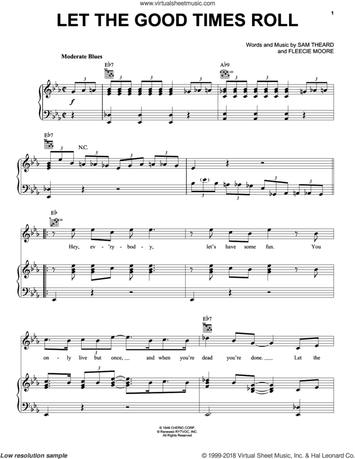 Let The Good Times Roll sheet music for voice, piano or guitar by Ray Charles, B.B. King, Ray (Movie), Fleecie Moore and Sam Theard, intermediate skill level