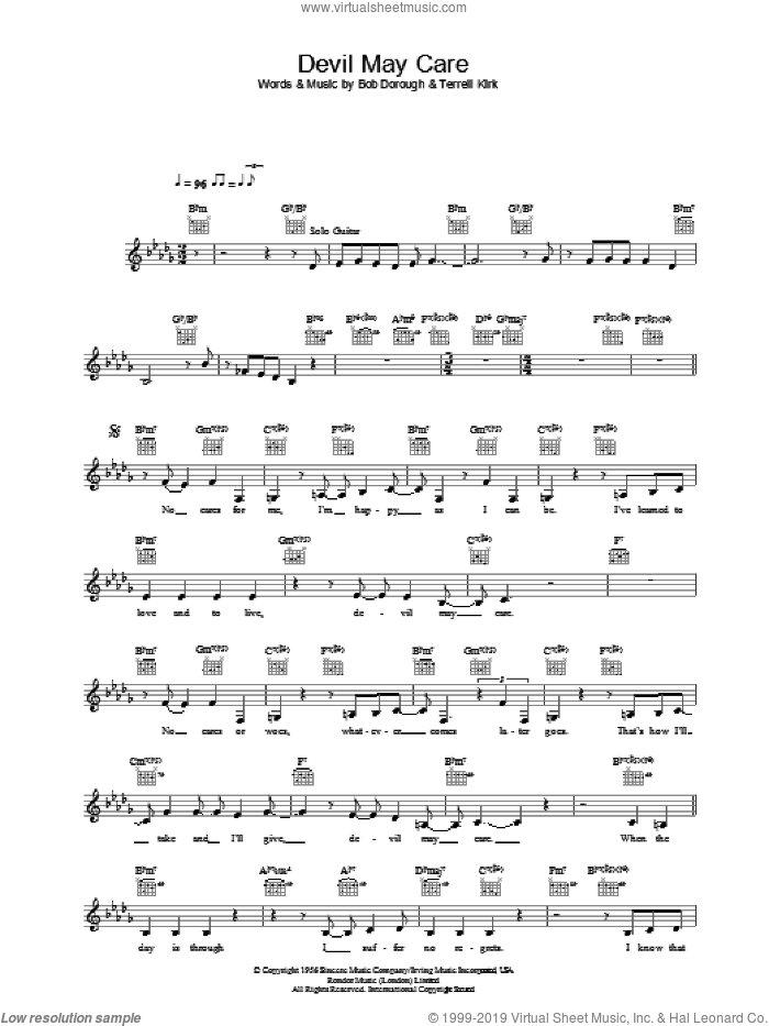 Devil May Care sheet music for voice and other instruments (fake book) by Diana Krall, Bob Dorough and Terrell P. Kirk, Jr., intermediate skill level