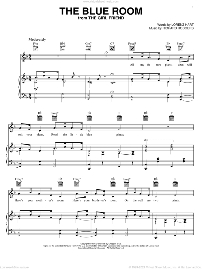 The Blue Room sheet music for voice, piano or guitar by Rodgers & Hart, Lorenz Hart and Richard Rodgers, intermediate skill level