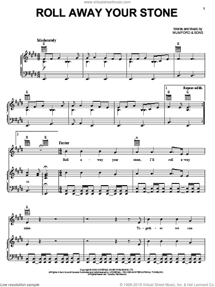 Roll Away Your Stone sheet music for voice, piano or guitar by Mumford & Sons, intermediate skill level