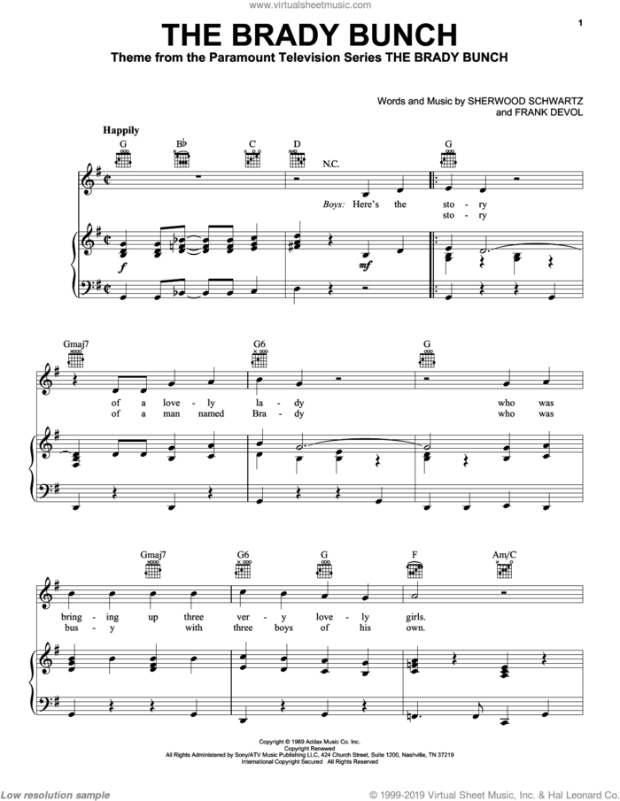 The Brady Bunch sheet music for voice, piano or guitar by Sherwood Schwartz and Frank DeVol, intermediate skill level