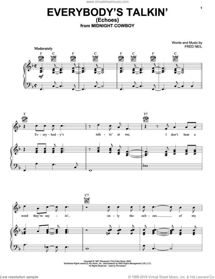 Everybody's Talkin' sheet music for voice, piano or guitar by Harry Nilsson and Fred Neil, intermediate skill level