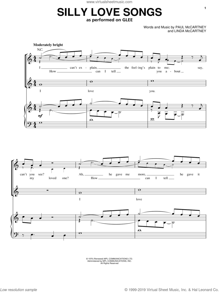 Silly Love Songs sheet music for voice, piano or guitar by Glee Cast, Miscellaneous, The Warblers, Wings, Linda McCartney and Paul McCartney, intermediate skill level