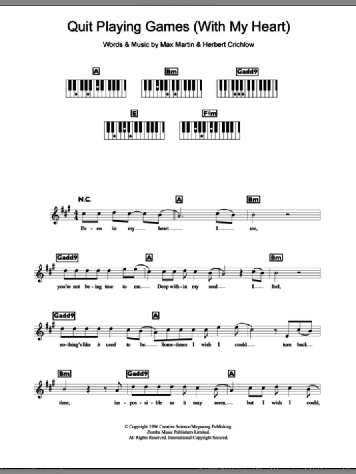 Quit Playing Games (With My Heart) sheet music for piano solo (chords, lyrics, melody) by Backstreet Boys, Herbert Crichlow and Max Martin, intermediate piano (chords, lyrics, melody)