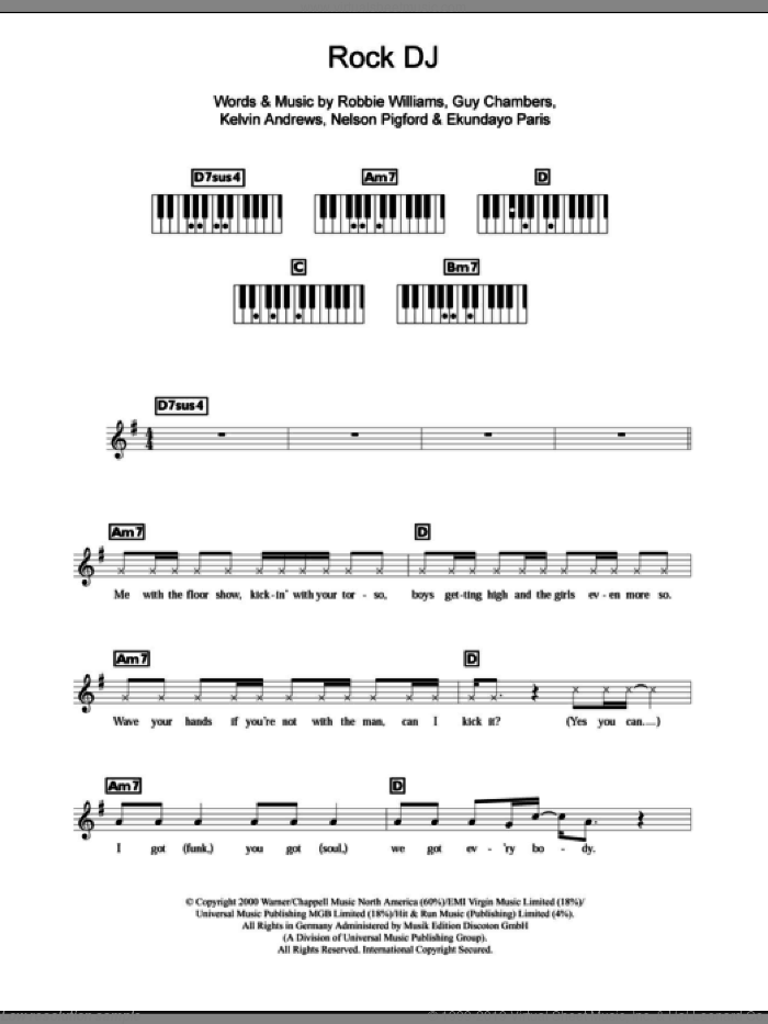 Rock DJ sheet music for piano solo (chords, lyrics, melody) by Robbie Williams, Ekundayo Paris, Guy Chambers, Kelvin Andrews and Nelson Pigford, intermediate piano (chords, lyrics, melody)