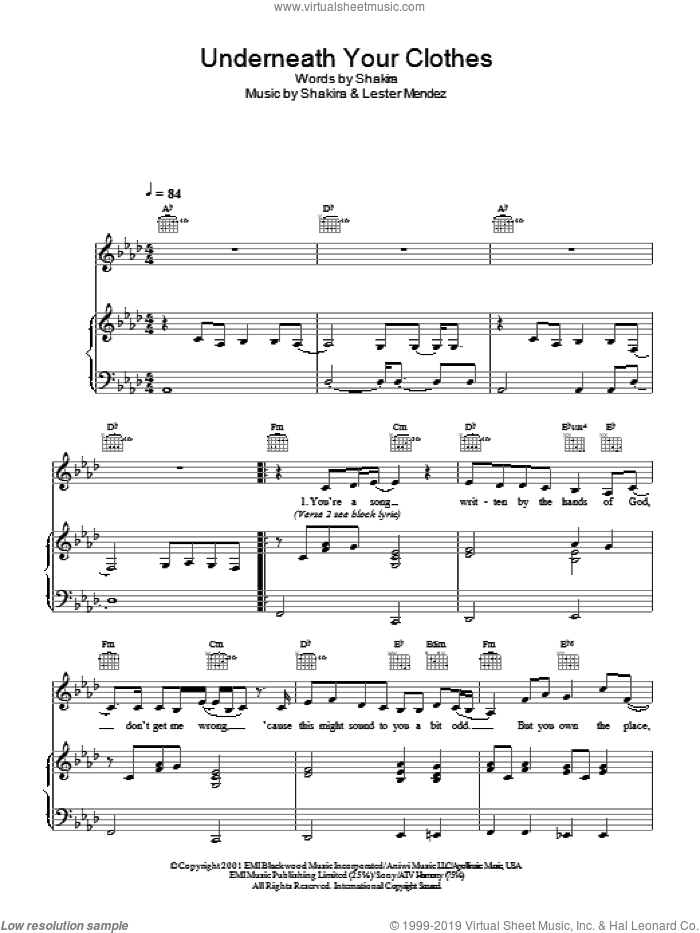 Underneath Your Clothes sheet music for voice, piano or guitar by Shakira and Lester Mendez, intermediate skill level