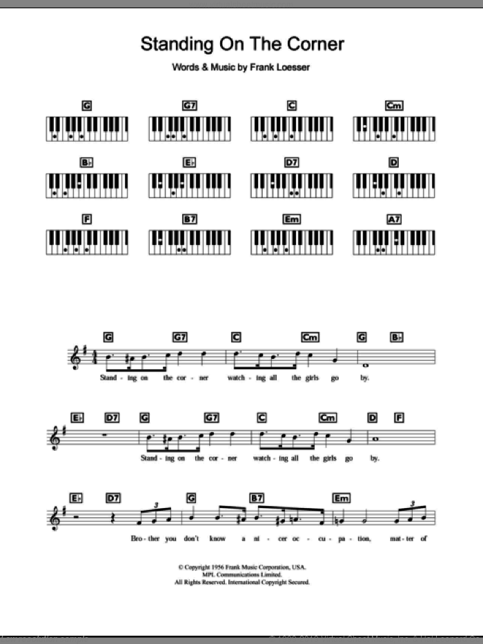 Standing On The Corner sheet music for piano solo (chords, lyrics, melody) by The Four Lads and Frank Loesser, intermediate piano (chords, lyrics, melody)