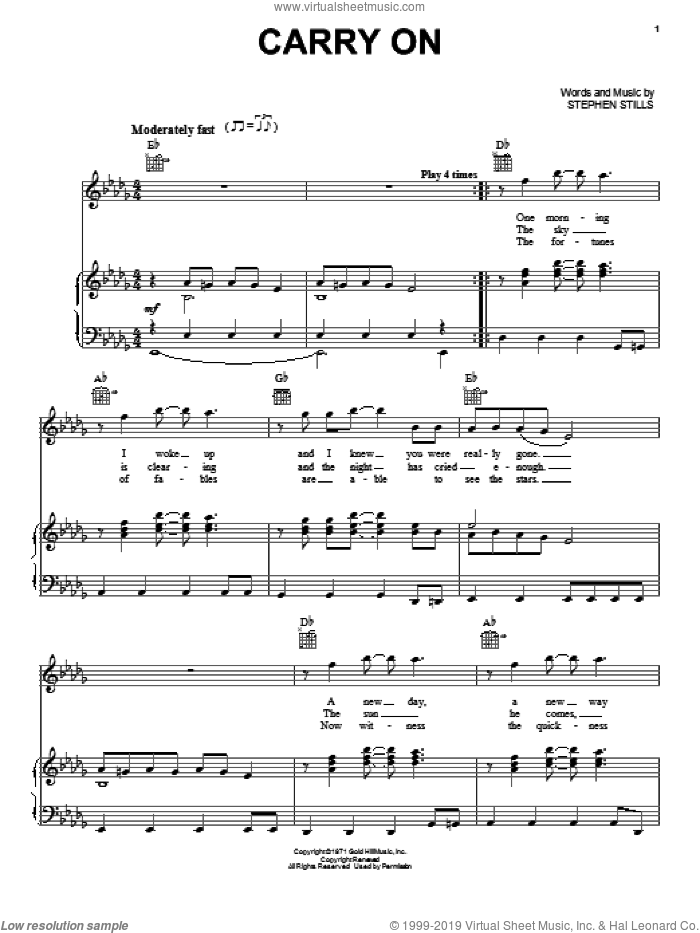 Carry On sheet music for voice, piano or guitar by Crosby, Stills & Nash and Stephen Stills, intermediate skill level