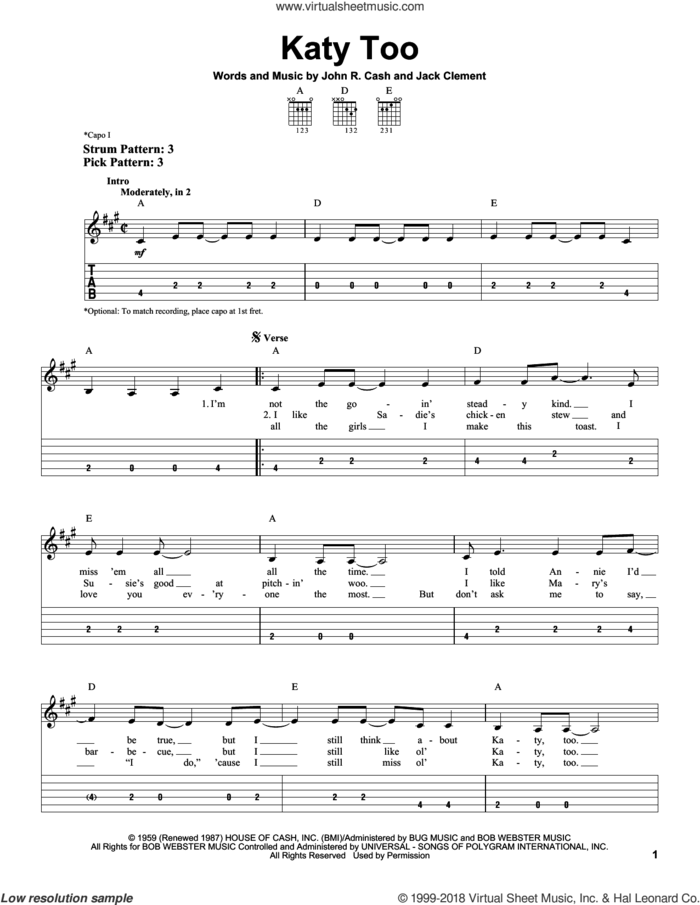 Katy Too sheet music for guitar solo (easy tablature) by Johnny Cash and Jack Clement, easy guitar (easy tablature)