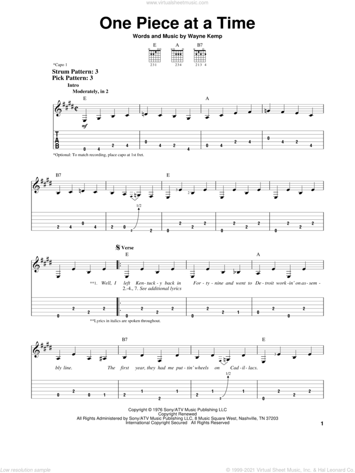 One Piece At A Time sheet music for guitar solo (easy tablature) by Johnny Cash and Wayne Kemp, easy guitar (easy tablature)