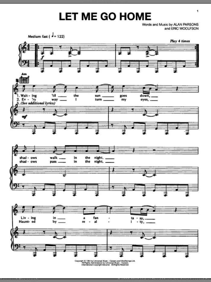 Let Me Go Home sheet music for voice, piano or guitar by Alan Parsons Project, Alan Parsons and Eric Woolfson, intermediate skill level